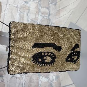 Mary Frances Winky Crossbody Beaded Handbag Gold